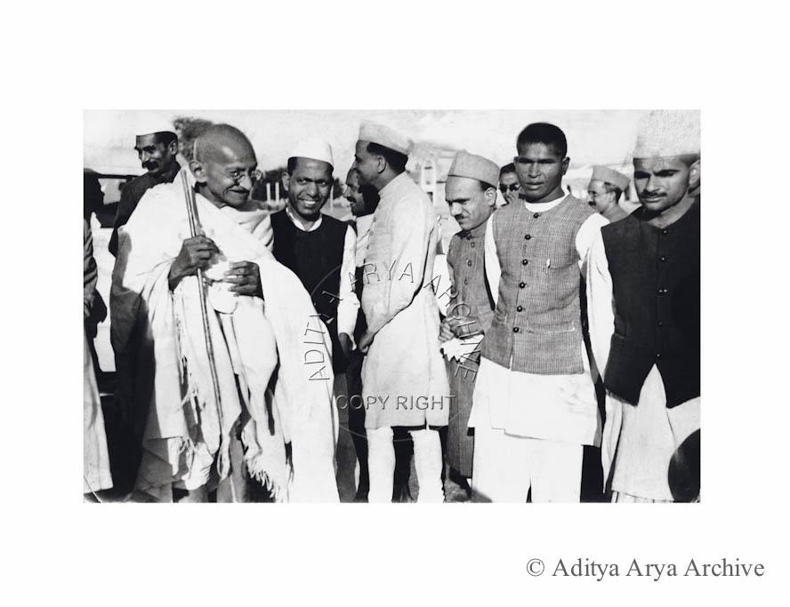 Mahatma Gandhi inaugurates Prarthana Bhawan at the Harijan Colony. Seem behind left is Rajendra Prasad.1940