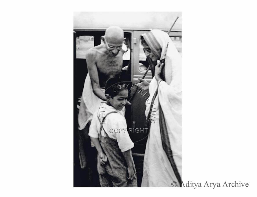 Gandhi ji with Rajkumari Amrit Kaur. Undated
