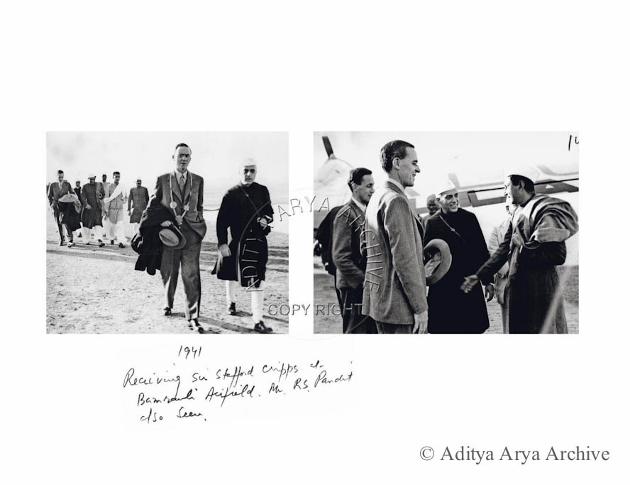 Jawaharlal Nehru receiving Sir Stafford Cripps at Bamrauli Airfield Allahabad