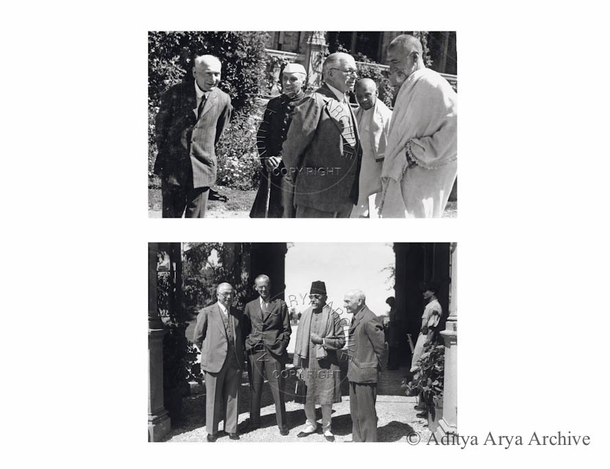 Above: The Shimla Conference begins at the Viceregal Lodge. Khan Abdul Ghaffar Khan (better known as Badshah Khan), Sardar Patel, A.V. Alexander, Jawaharlal Nehru and Lord Pethic-Lawrence. Secretary of State for India (R to L) in conversation .1945 Below: Lord Pethic-Lawrence .Maulana Abul Kalam Azad, Unidentified   and A.V. Alexander (R to L). 1945
