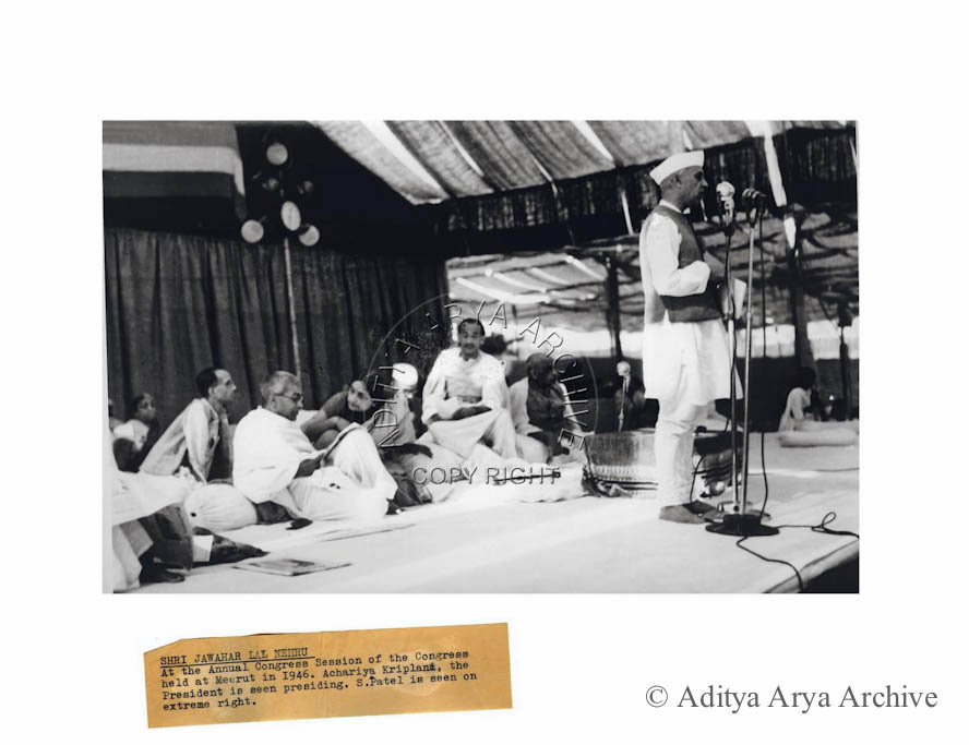 Shri Jawahar Lal Nehru at the Annual Congress Session of the Congress held at Meerut in 1946. Acharya Kriplani, the President is seen presiding. S.Patel is seen on extreme right.