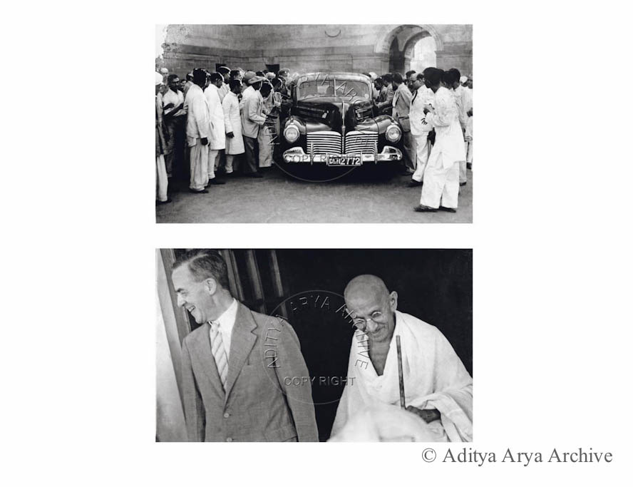Above: Mahatma Gandhi leaves after prolonged discussions with Sir Stafford Cripps.1942 Below: Mahatma Gandhi and Sir Stafford Cripps. 1942
