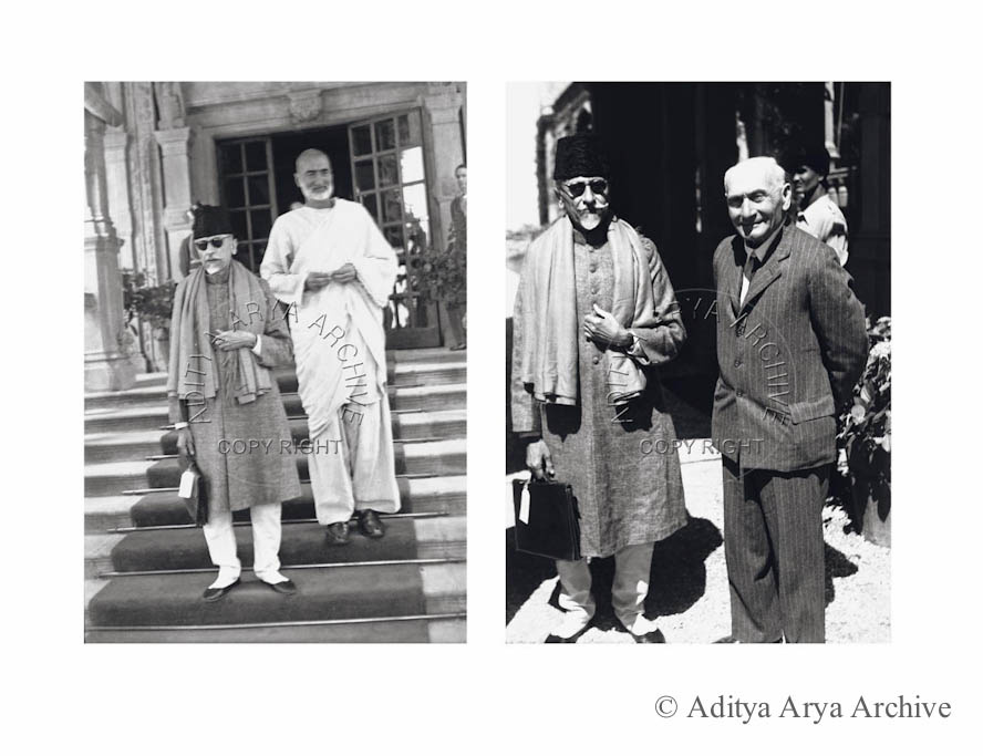 Left: Khan Abdul Ghaffar Khan with Maulana Azad, Shimla. 1945 Right: Maulana Azad with Lord Pethic –Lawrence, Shimla.1945