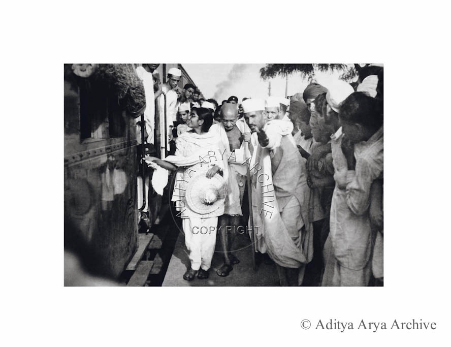 Gandhi ji arriving at Nizamuddin railway station. New Delhi. Along with his    granddaughter