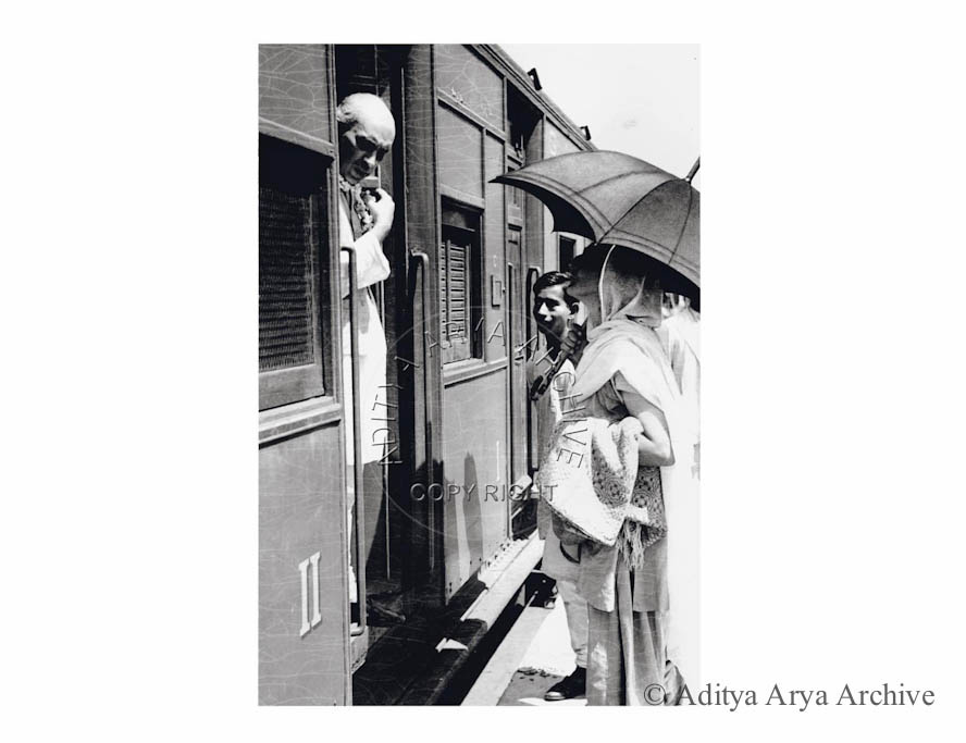 Jawaharlal Nehru Being seen off by Mira behn ( Madeliene Slade) at New Delhi. He is traveling by second class train. 1937
