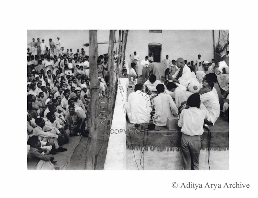 Mahatma Gandhi at  a prayer meeting in the Harijan Colony.1940