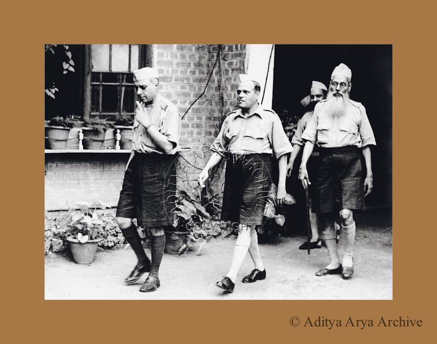 Jawaharlal Nehru in uniform going to attend a Congress Seva Dal Volunteers'rally at       Kanpur. 1938