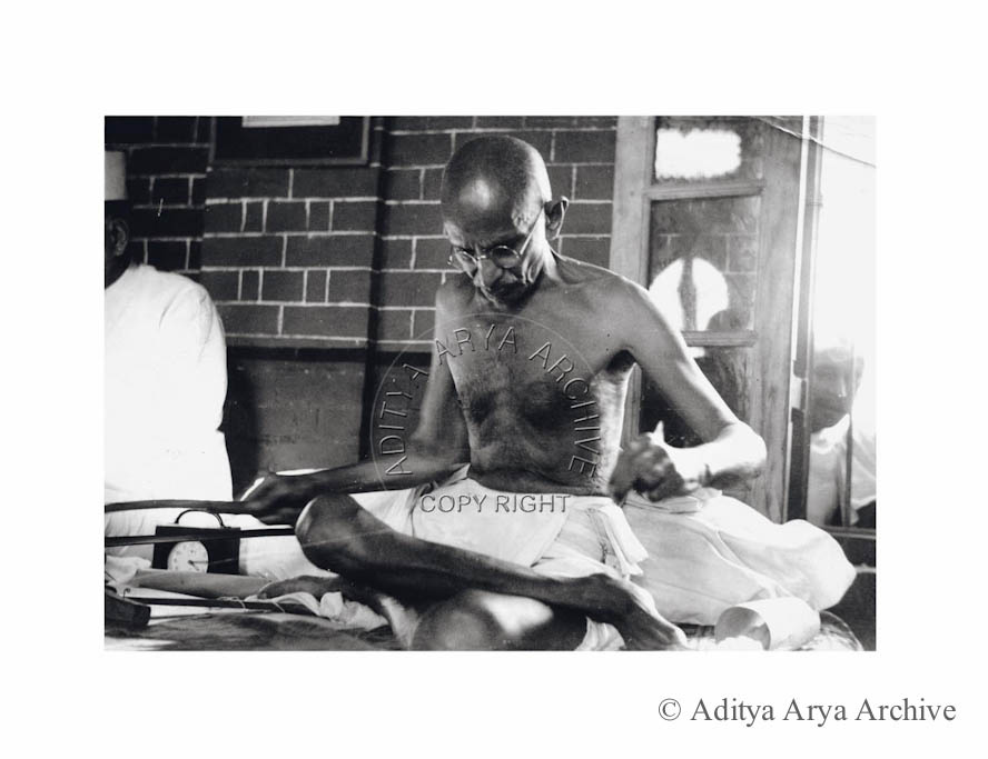 Mahatma Gandhi at his spinning wheel, New Delhi.1940