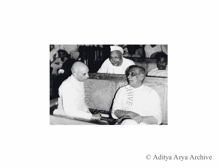 Rajendra Prasad,Sardar Patel and Jawaharlal Nehru at the special session of the all India Congress Committee, New Delhi.1947
