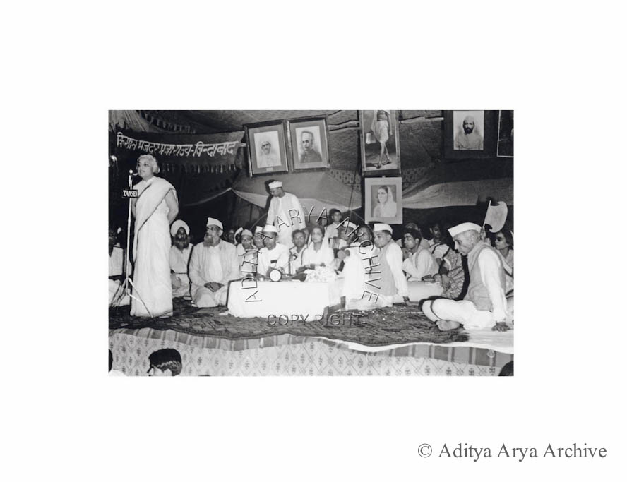 Vijaylakshmi Pandit addressing the Delhi Political Conference, Also seen seated are Jawaharlal Nehru and Aruna Asaf Ali. Undated