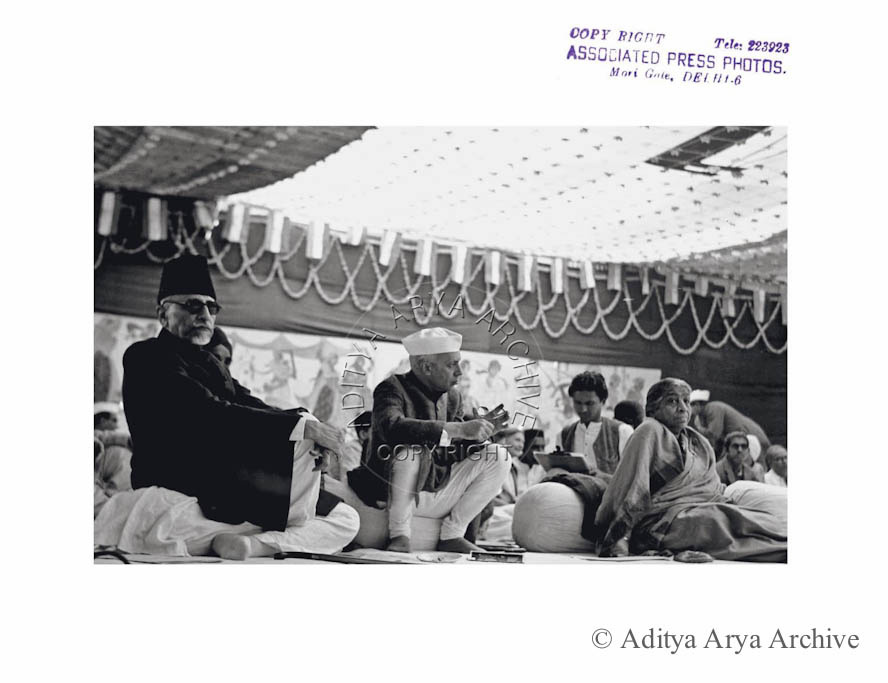 Maulana Azad, Jawaharlal Nehru at the Jaipur Congress Session. 1948
