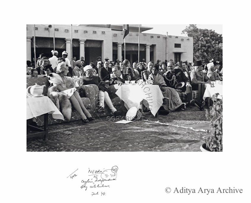 Nehru at Ceylon's first independence day celebration, February 1948.