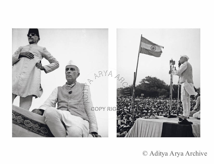 Left Jawaharlal Nehru and Maulana Azad at the inauguration of Independence Week .Gandhi Grounds, New Delhi, 1948 Right: Jawaharlal Nehru addressing a public meeting .Undated