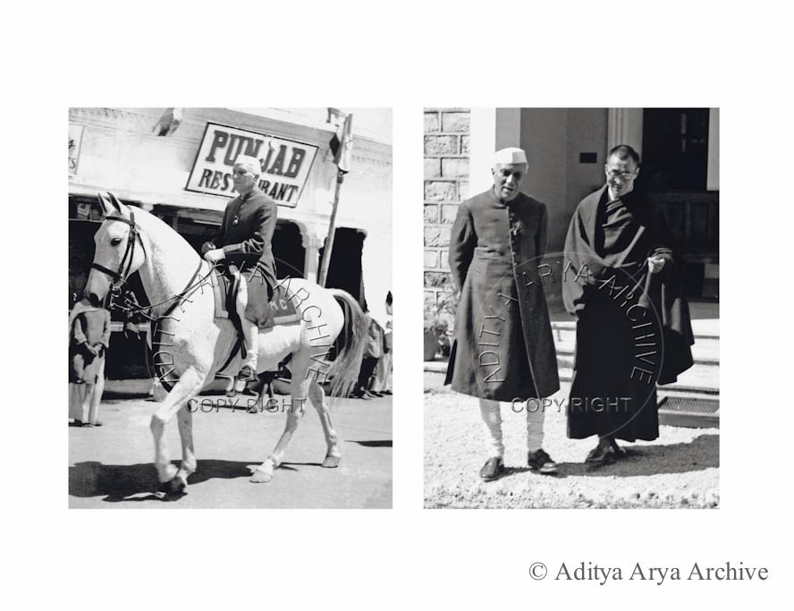 Jawaharlal Nehru sets off on horseback to meet the Dalai Lama in Mussoorie.1959 Right: Nehru with Dalai Lama at Birla Niwas, Mussoorie.1959