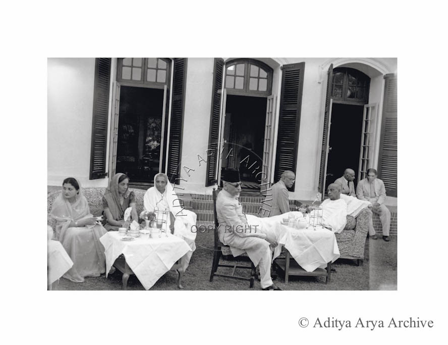 An ailing Sardar Patel receiving the rulers of Central India at his home. 1948