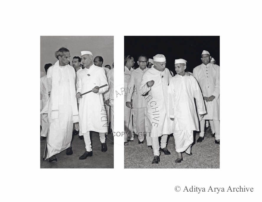 Left: Jawaharlal Nehru being seen off by Krishna Menon, while departing for a tour of Europe and USA. 1956 Right:  Jawaharlal Nehru leaves for the Belgrade Conference of Neutralist Countries. Lal Bahadur Shastri sees him off 1961