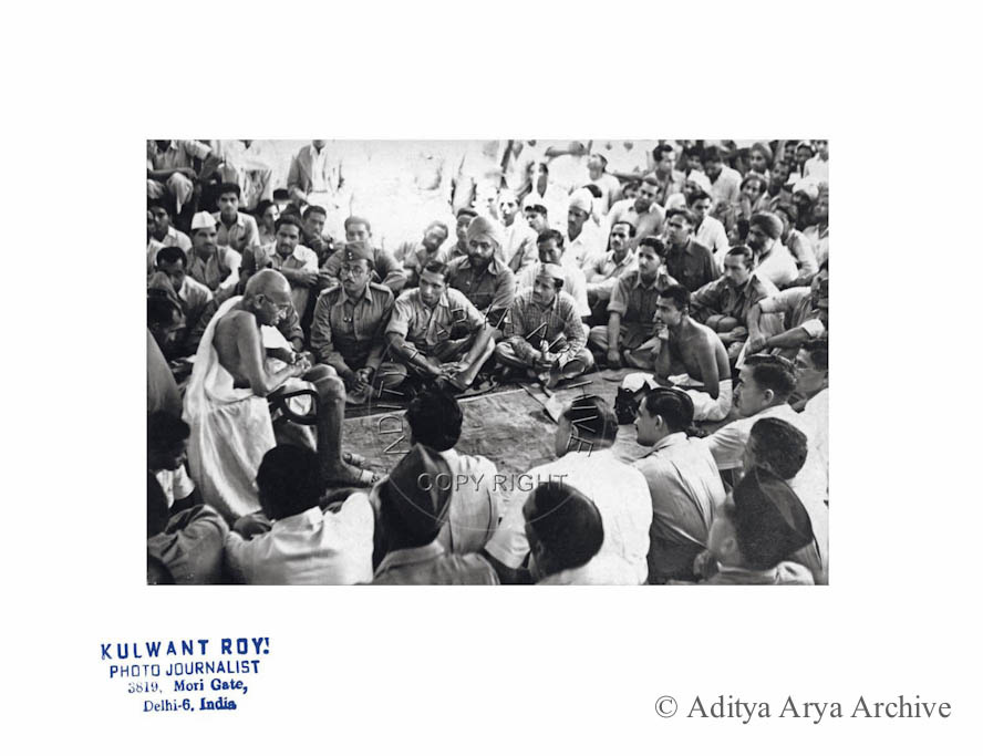 An engrossed audience listening to Gandhiji, in this rare documentation of the meeting. 1945