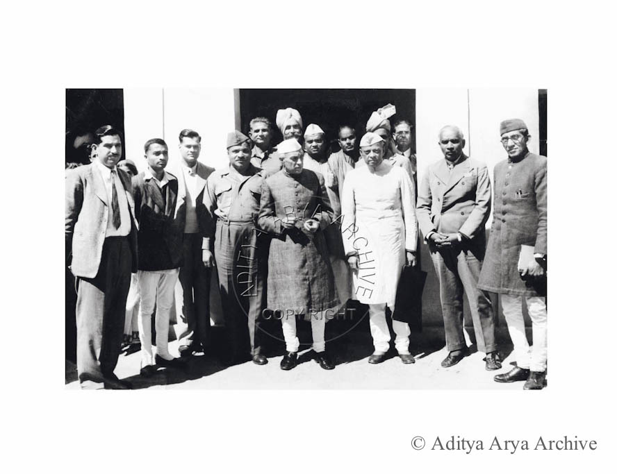 Jawaharlal Nehru with members of the INA enquiry committee at the constitution Club, New Delhi.1945