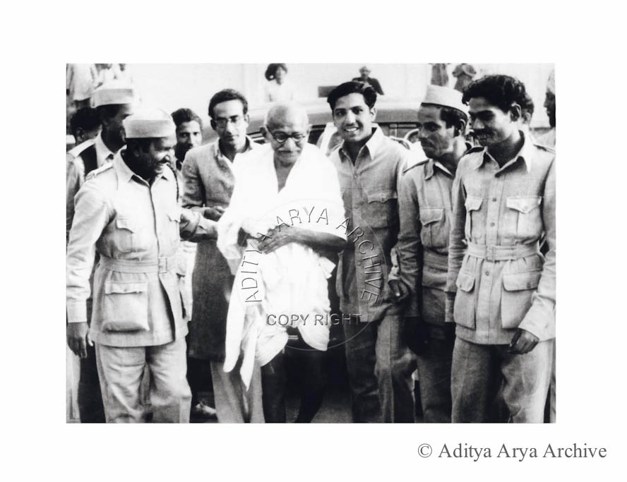 Mahatma Gandhi with soldiers of the INA. 1945