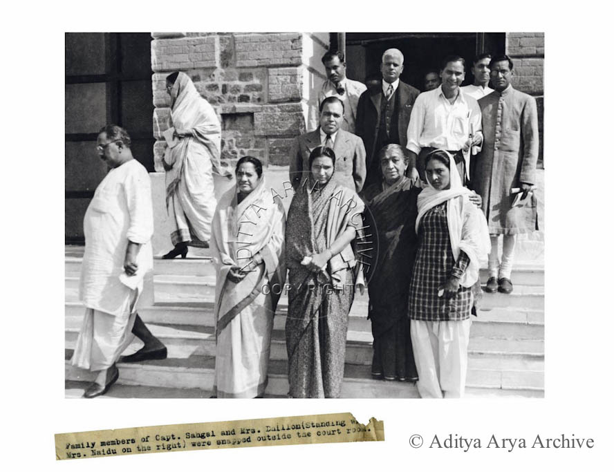 Sarojini Naidu with INA members.1945