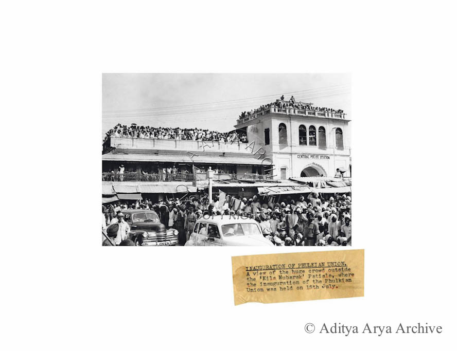 Inauguration of Phulkiat Union. A view of the huge crowd outside the 'Kila Mubarak' Patiala, where the inauguration of the Phulkian Union was held on 15th July