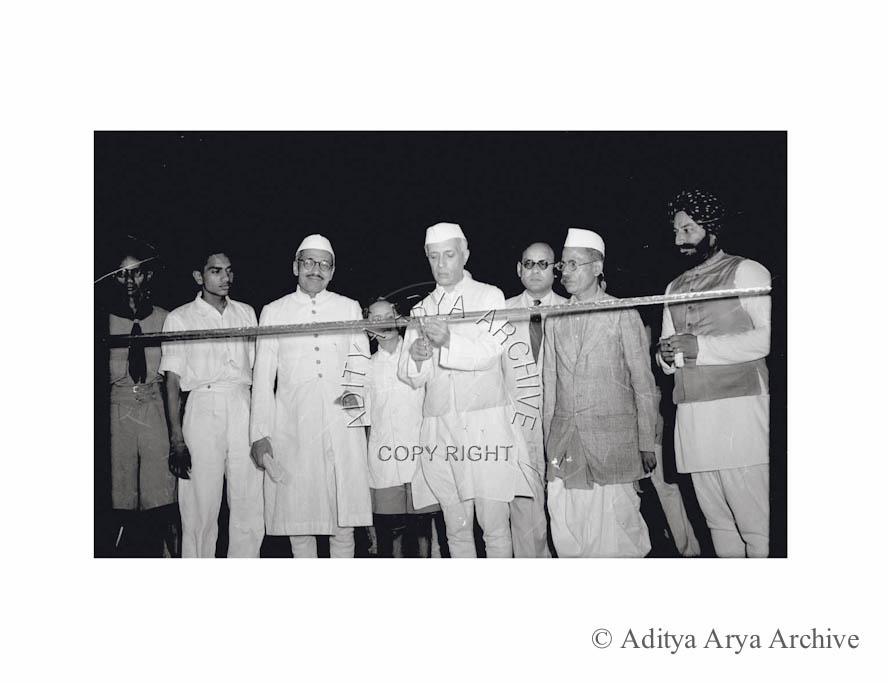 Jawaharlal Nehru opening the Lajpat Rai Market in New Delhi.1948