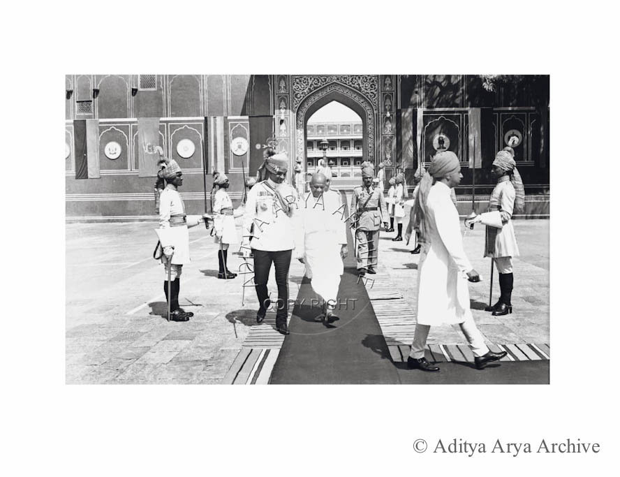 Sardar Patel with the Maharaja of Jaipur, on the formation of the Matsya Union  Of the Rajasthan princely states.1948