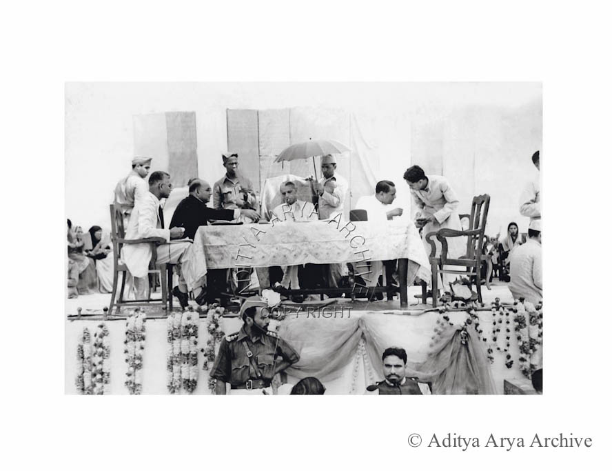 M.A. Jinnah addressing a Muslim league meeting. Undated
