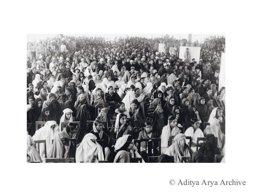 Women audience at a Muslim League meeting. Undated