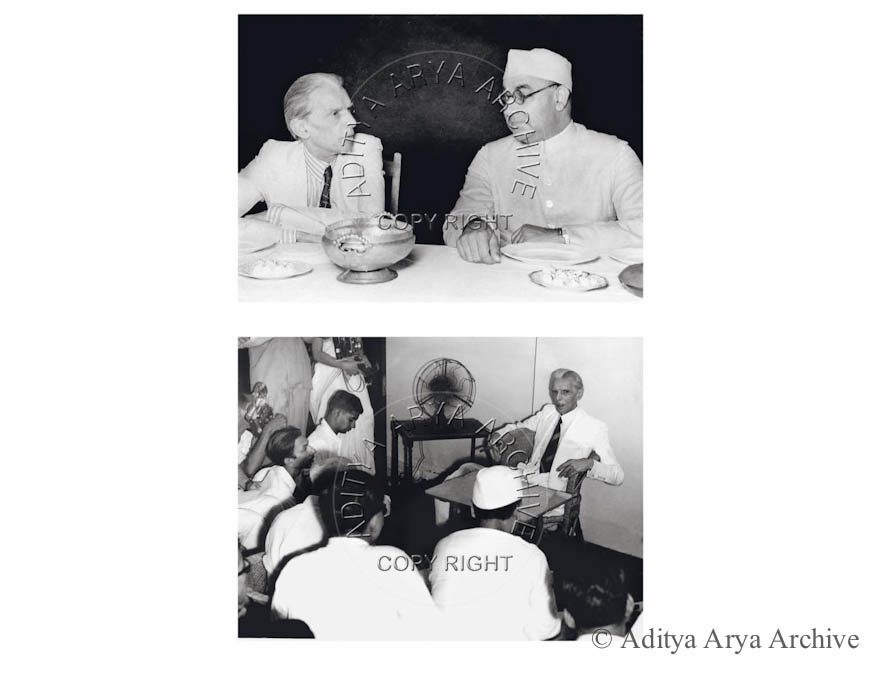 Above: M.A. Jinnah at a Muslim League dinner. Undated Below: M.A. Jinnah addressing his last press conference before leaving India Partially seen in left corner are Kulwant Roy and Homai Vyarawalla.1947