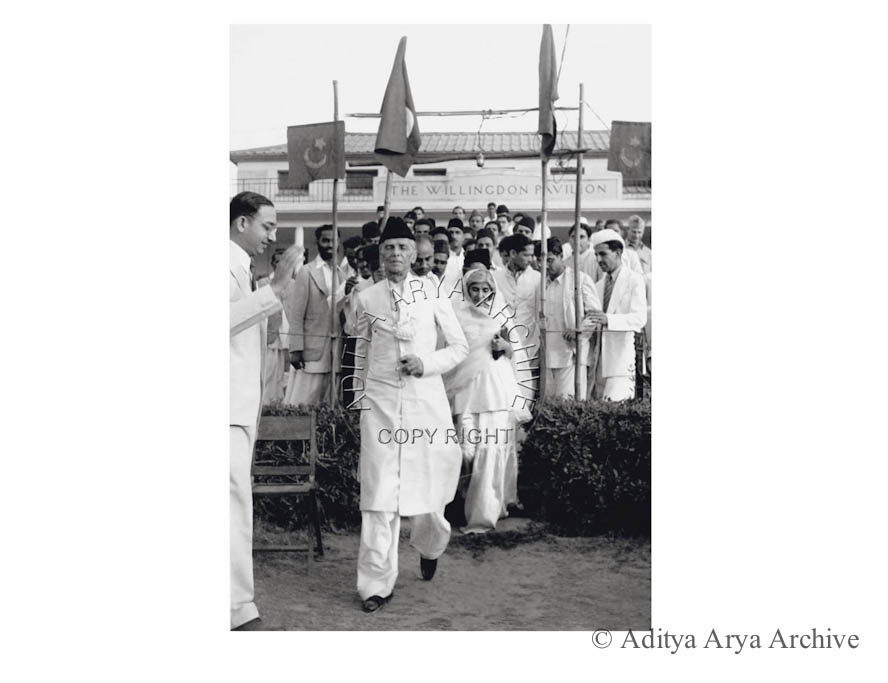 M.A. Jinnah arriving for a Muslim League meeting with Sister Fatima. Undated