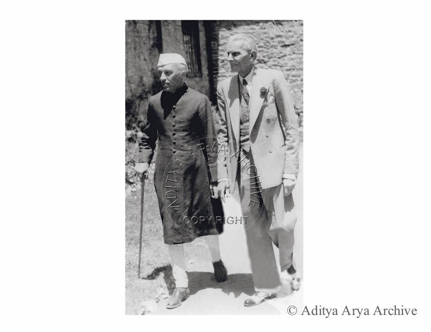 M.A. Jinnah with Jawaharlal Nehru at Shimla.1946