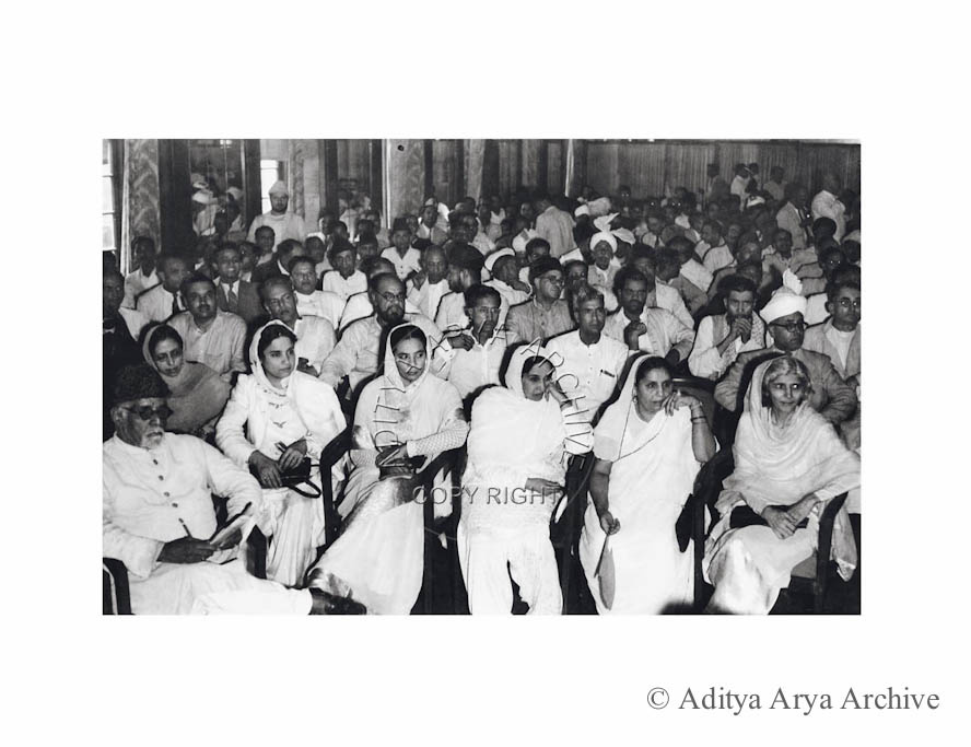 The Council of the All India Muslim League being address by M.A. Jinnah in Delhi Women delegates are seen seated in front. Undated