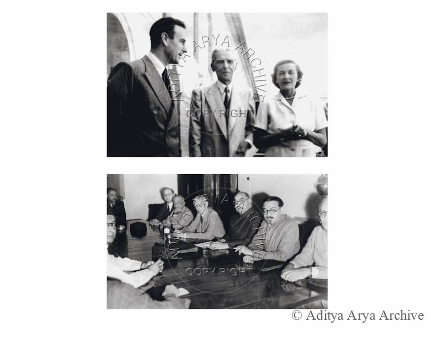 Above: M.A. Jinnah with Lord and Lady Mountbatten at the Viceroy House. Undated Below: The Working Committee meeting of the Muslim League held at Yarrows, Shimla, and Undated