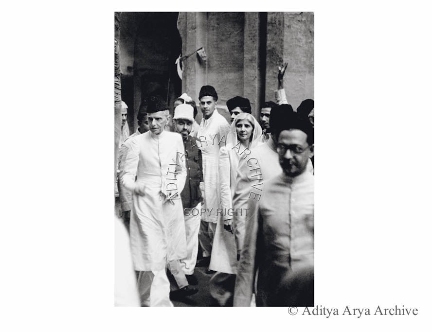 M.A. Jinnah on his way to a Muslim League meeting at New Delhi. Undated