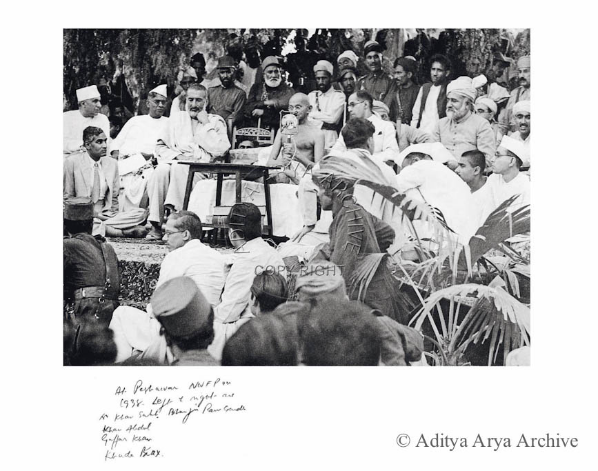 At Peshawar NWFP 1938. Left and right are Dr. Khan Sahib, Bhaiji Ram Gandhi, Khan Abdul Gaffar Khan, Khuda Baux.