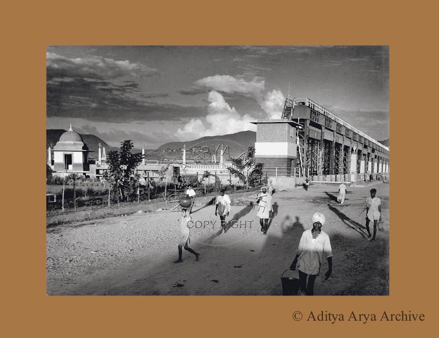 Long shadows at Bhakra Nangal dam. 1950s