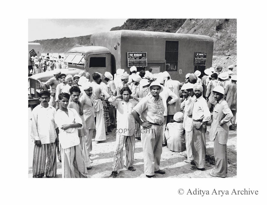 Workers and pay van at the Bhakra Nangal, 1950s