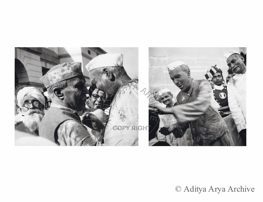 Jawaharlal Nehru and Govind Ballabh Pant celebrating holi.1956