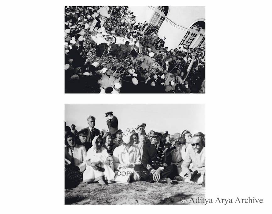 Above: Mahatma Gandhi's final journey. 1948 Below: (R to L) Maulana Azad, Lord and Lady  Mountbatten, Rajkumari Amrit Kaur and Patricia Mountbatten at the funeral of Mahatma Gandhi.1948