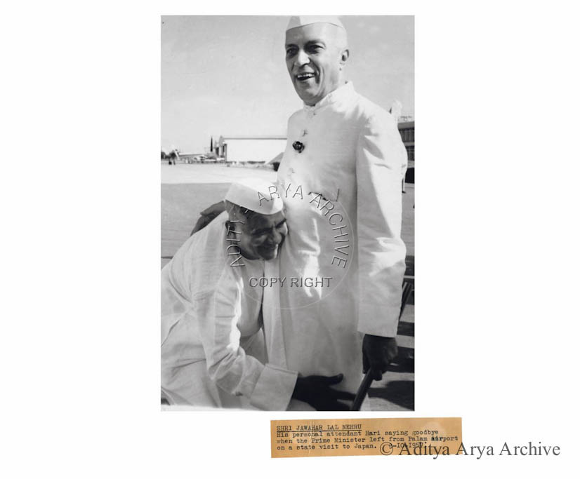 Shri Jawahar Lal Nehru his personal attendant Hari saying goodbye when the Prime Minister left from Palam airport on a state visit to Japan. 3rd March 1957