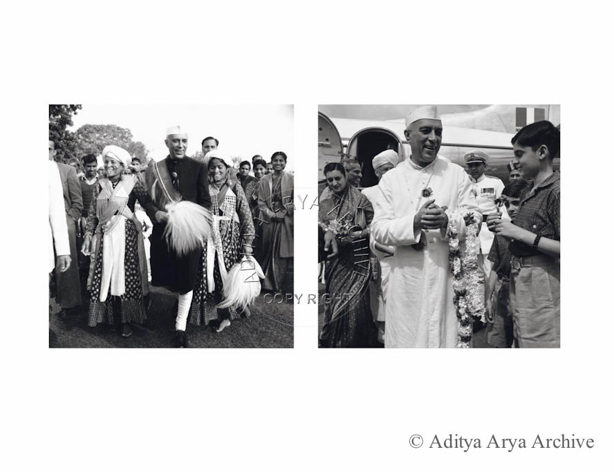 Left: Jawaharlal Nehru with folk dancers at Tehri Garhwal.1950s. Right: At the airport with young Rajiv and Indira.1950s