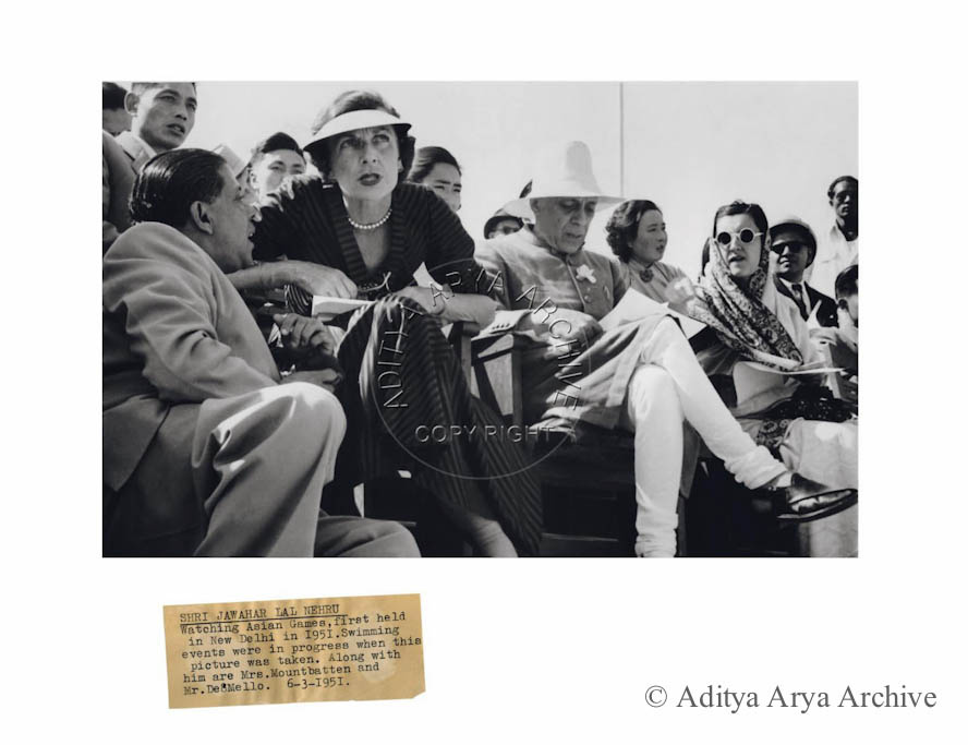 Shri Jawahar Lal Nehru watching Asian Games, first held in New Delhi in 1951. Swimming events were in progress when this picture was taken. Along with him are Mrs. Mountbatten and Mr. Deomello. 6th march 1951