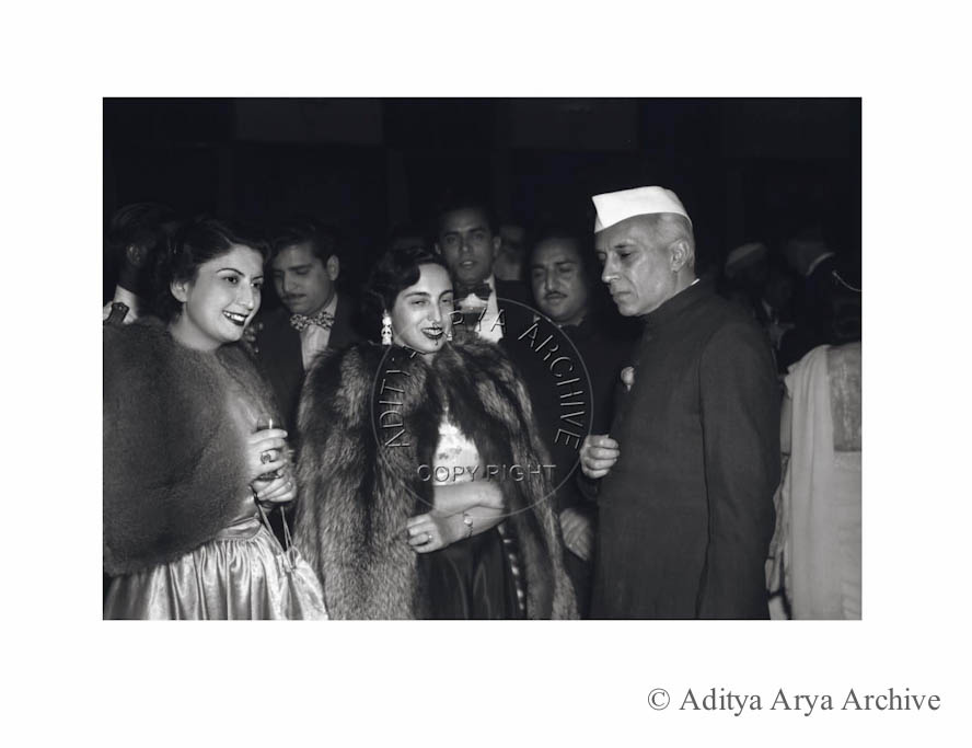 Jawaharlal Nehru at a diplomatic reception.1950s