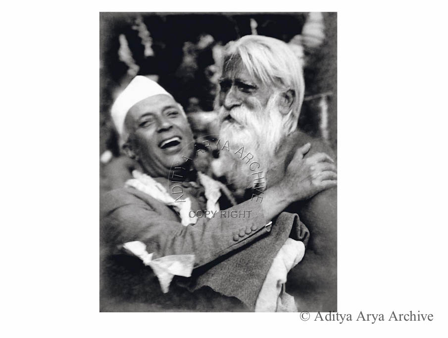 Jawaharlal Nehru being greeted by Chaudhuri Behari at the National Stadium. New Delhi. Undated