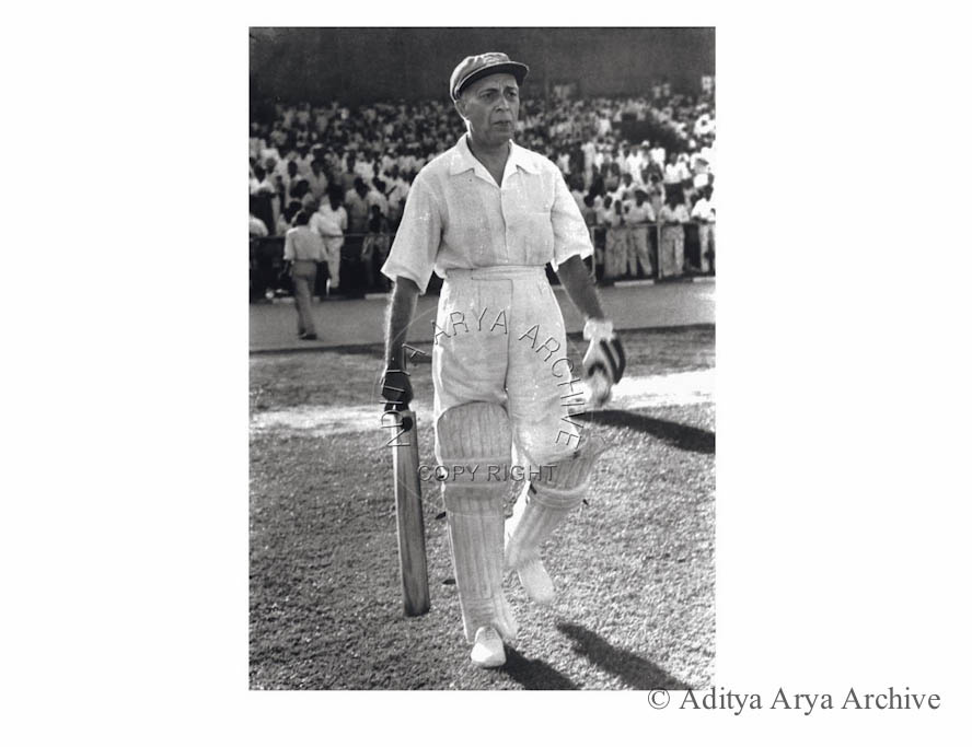 Jawaharlal Nehru at a cricket match between the prime minister and president's team.1953