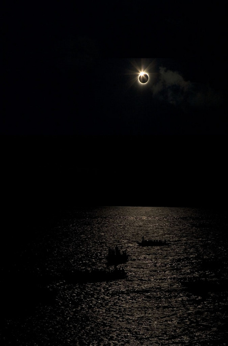 Diamond RIng over Ganges, Varanasi