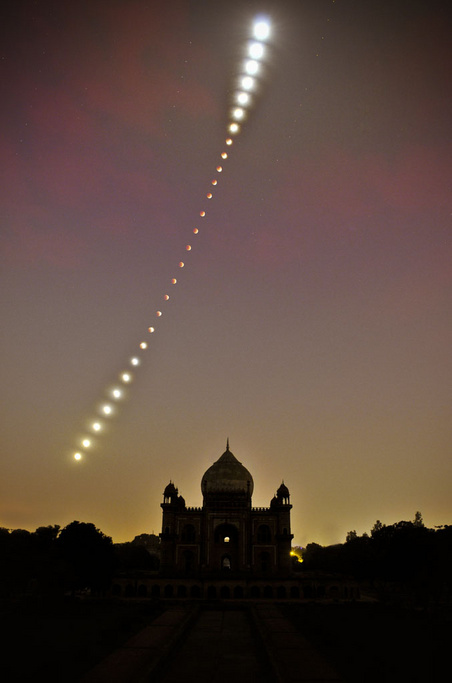 Lunar Eclipse Over Safdarjung Tomb, New Delhi