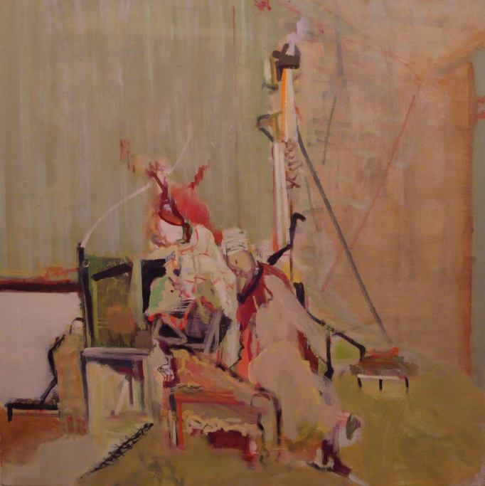 """22""""x22""""                      oil on linen                      green room,red hat                                                                           2010"""