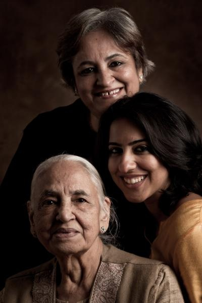 my elder sister, Meenu Kapoor. Her daughter, Deeksha Kapoor Khanna. And our mother, Deesh Khanna.
